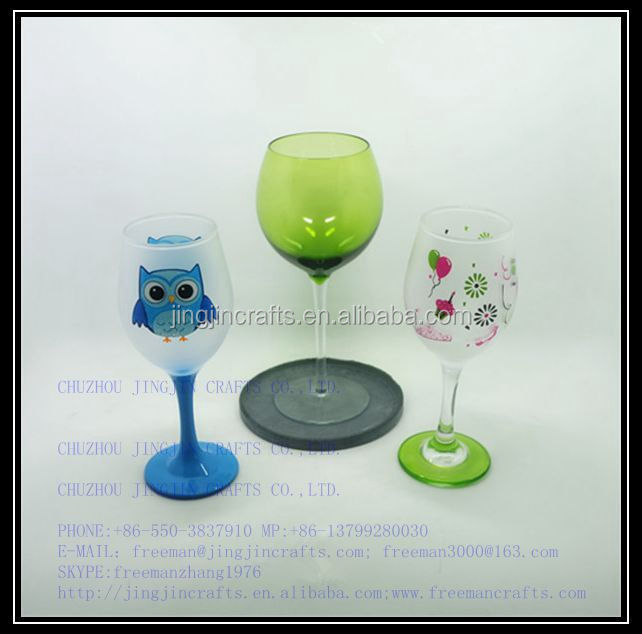wine glass/colourful green, blue stem hand blown wine glass with decal