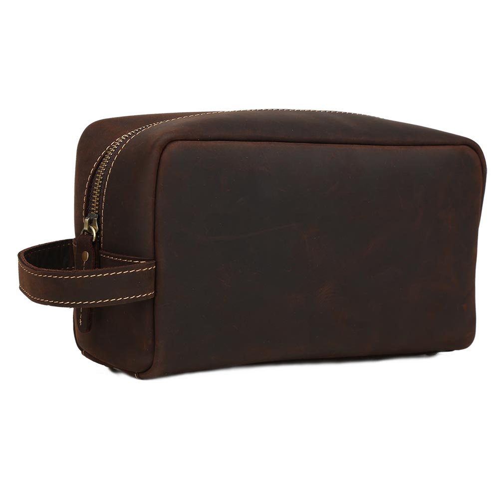 Tiding Stylish Leather Cosmetic Toiletry Bag Leather Men Wash Bag For <strong>Travelers</strong>