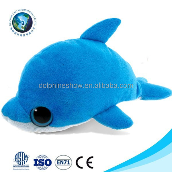 Lovely customized plush dolphin toy fashion cartoon stuffed soft plush blue dolphin hand puppet