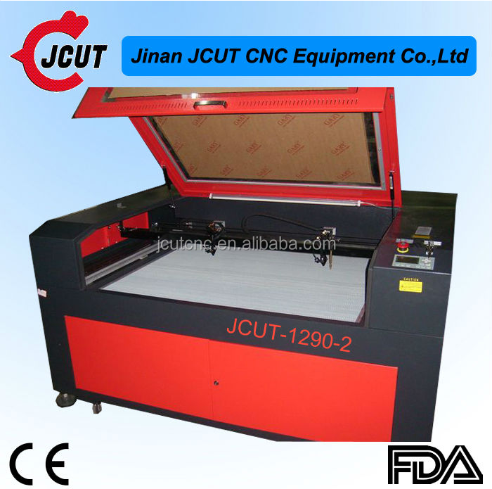China high quality low price JCUT-1290 double heads spindle laser cutting machine for wood/acrylic/lether and paper materials