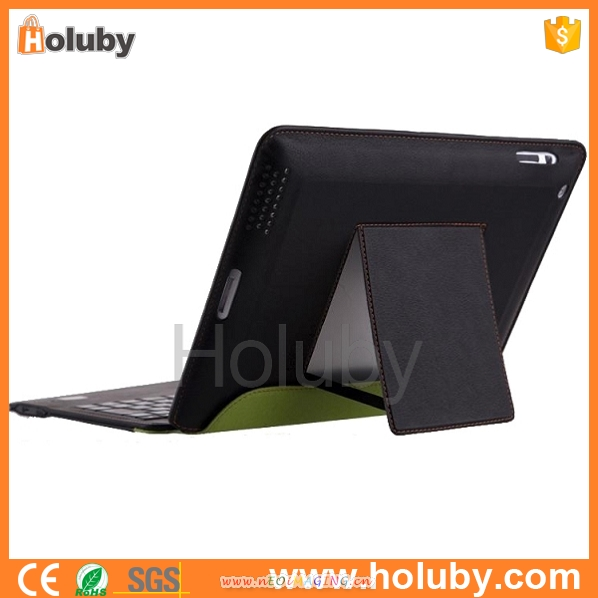 2015 Newest Product bluetooth keyboard Stand Leather Case Cover with Wireless Bluetooth Keyboard For Apple iPad mini