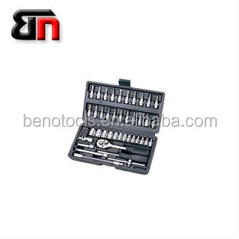 Motorcycle hand tool sets for reparing,46 pieces mechanical workshop tools,socket wrench set