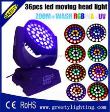 discount Hot Hosen lighting zoom led moving head wash 36pcs RGBWAUV 6in1 18W led stage light