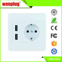 Schuko Plug Receptacle With 2 Port USB Wall Outlet Charger Plate