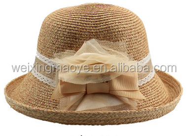 Wholesale Women Church Straw Bucket Dresses Hat