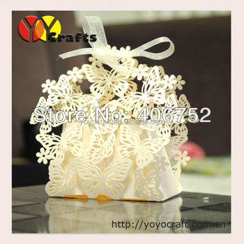 Paper crafts unique candy box butterfly shaped wedding luxury favor boxes