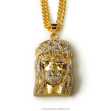 Gold chain men hip hop trendy long necklace 24K gold plated crystal jesus pendant necklace jewelry for women jesus piece chain