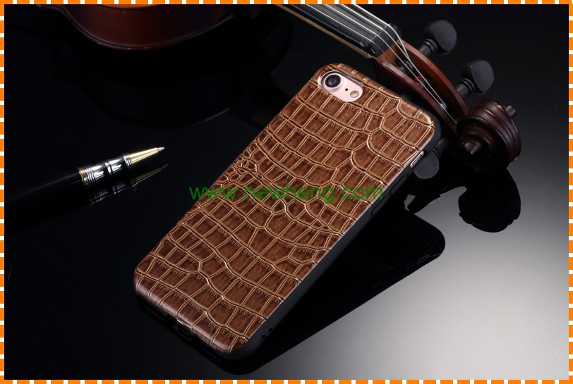 Fashion Design Crocodile Pattern Skin pu leather Mobile Phone case for iphone 7 plus