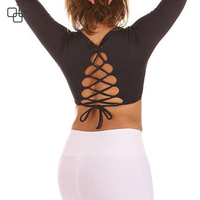 Latest deisgn custom fitness yoga wear for women long sleeve sexy backless back slim fit yoga t shirts