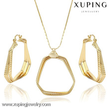 63694 China Wholesale Copper Alloy 14K Gold Fashion Jewelry Set ,Earring and Pendant Set