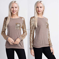 Lady Sweater Sweatshirts Long Raglan Gold Sequin Sleeves Taupe Sweater Custom Crewnecks With Pockets