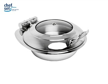 6L high quanlity hydraulic joint induction bottom Chafing dish with glass lid