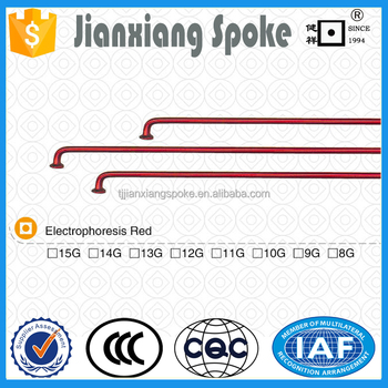 Bicycle spare part carbon stainless steel Electrophoresis Red color spoke and nipple for bicycle wheels