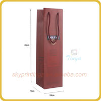 Attactive decorative paper wine bottle bags for one bottle red wine packaging