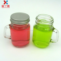 100ml small glass mason jar mug drinking cup with handle and lid