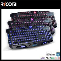 Ricom USB Adjustable colored Backlit LED Gaming Keyboard for laptop and desk computer--LK611--Shenzhen Ricom