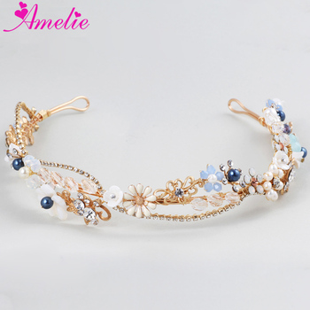 Gorgeous Wedding Tiaras Rhinestone Chain Big Crystal Bridal Hair Crown Princess Prom Dress Headpiece Tiaras Hair Jewelry