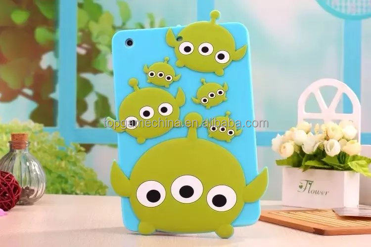 Cute 3d silicone case for tablet pc ,for iPad 2 3 4 5 6 silicone case