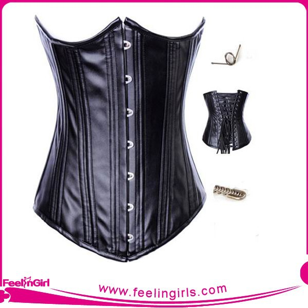Beautiful Classic Simple Black Steel Boned Lady xxxl Sexy Leather Corset