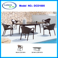 Rattan 1 table 5 chairs dining set German Luxury Dining room furniture DCD1005