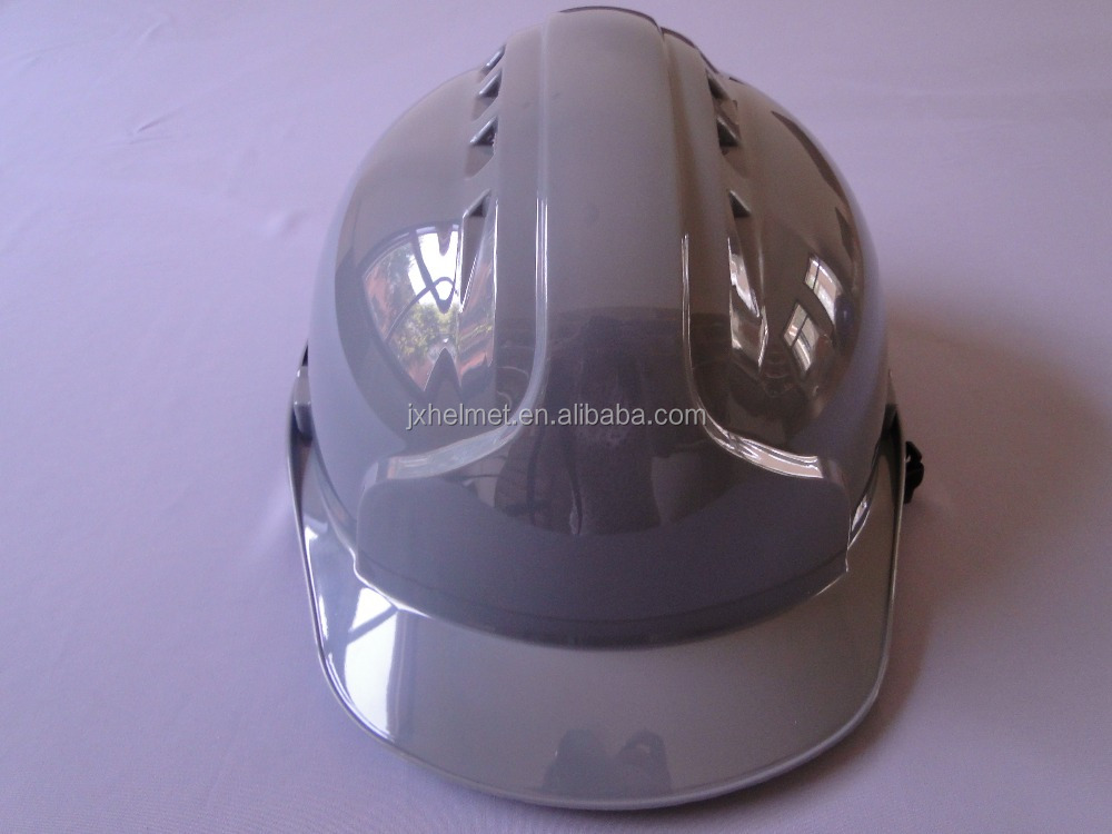 CE approved function of safety helmet gray/grey color buckle /ratchet ABS with vents
