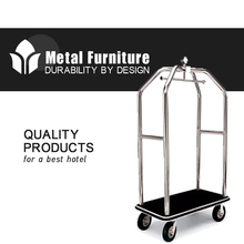 Hotel Hot sale Brushed Stainless Steel luggage cart