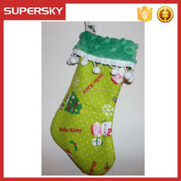 V-288 Cat kitty christmas stocking gift decoration with pom pom christmas hanging ornaments