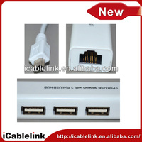 Mini USB to Ethernet adapter 10/100Mbps RJ45 Ethernet mini USB 3 ports LAN Adapter 3 Ports USB Hub for Tablet PC/Laptop