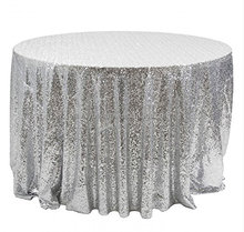 New arrival fancy and glitter wedding sequin embroidery table overlay Silver sequin tablecloth