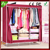 PORTABLE DOUBLE CANVAS WARDROBE RAIL CLOTHES STORAGE BEDROOM CLOSET ORGANIZER