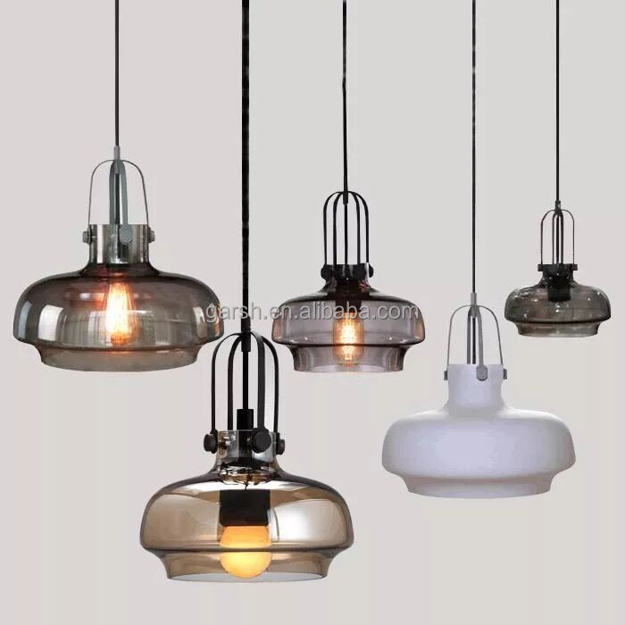 Industrial Glass Kitchen Hanging Lights Fiber Optic Vintage Pendant Light