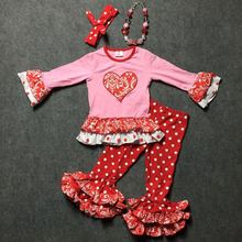 2016 Valentine's day heart outfits grils party clothes toddler baby pant heart pink top red pant dot girls with accessories