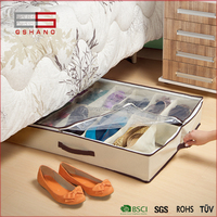 Under bed foldable 12-Pair Shoe Organizer with Clear Cover
