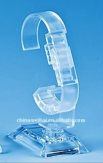 C shape wall mounted wall display for watches clear plastic watch display