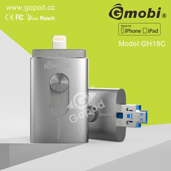 Gmobi iStick MFi Approval Flash Drive Expend Storage For iPhone, iPad with File Management-H18C