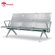Stainless steel seating bench airport USB charge bank waiting row chair link metal gang chairs