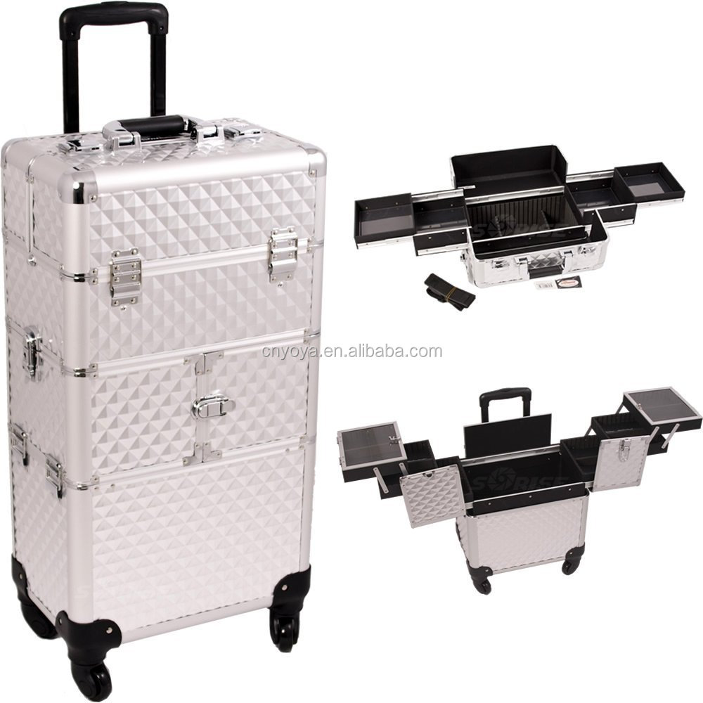 Sunrise Outdoor Travel Professional Cosmetic Holder Silver Diamond Trolley Makeup Case - I3164