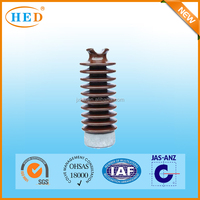 high voltage post electrical ceramic insulator in Brown glazed