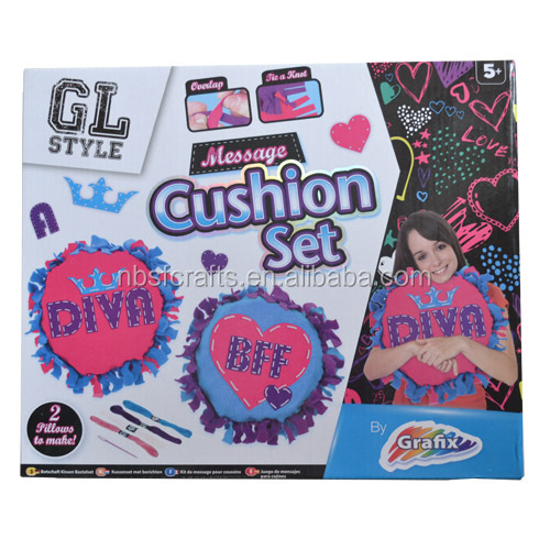 DIY Kids craft kit Create your own cushion,Message cushion set