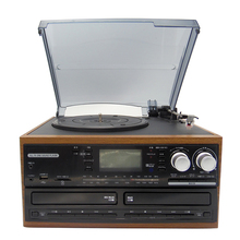 Hot selling Classical Style USB/LP/ Wooden Vinyl Turntable Record player With double cd encoding