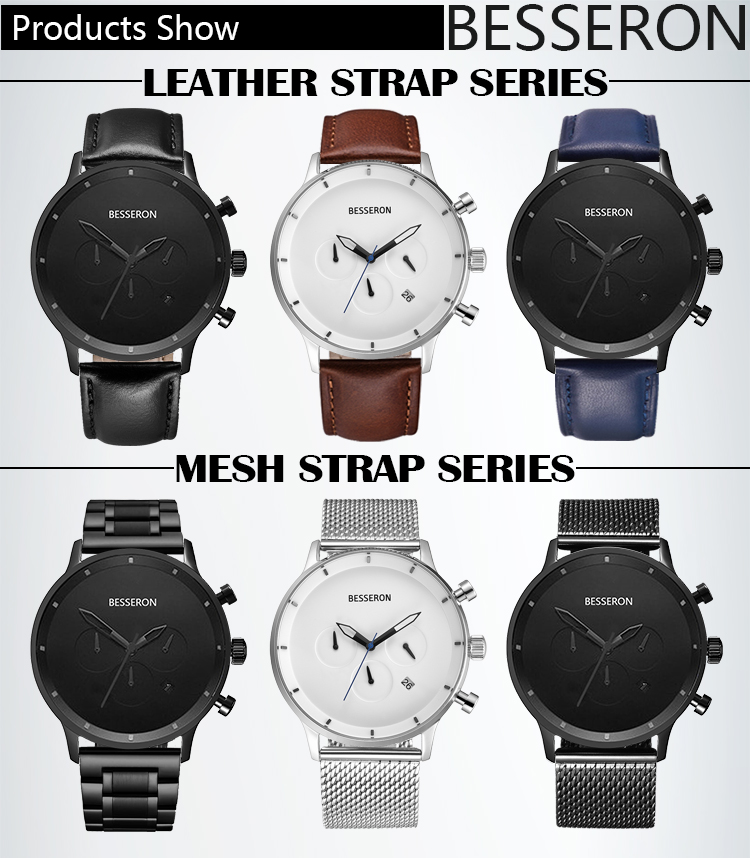 Factory supply custom stainless steel 백 물 저항하는 montre business men chronograph multifunction watch
