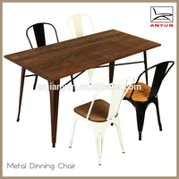 Modern new style metal leg dining table and chair