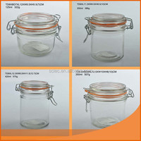 Glass canister with lid/ glass jar with lid