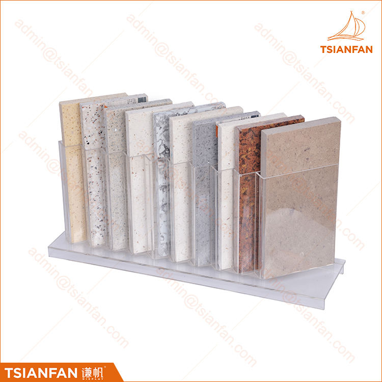 Factory Cheap Desktop Granite Sample Rack Clear Acrylic Tiers Display Shelf