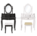 White Beautiful Cottage Design Vanity Girls Makeup Table with Stool Set/Cheap bedroom dresser furniture