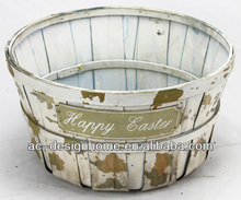 WHITE WASH ROUND HAPPY EASTER BAMBOO CHIP BASKET