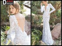 High Class Backless Sheath Long Sleeve Lace Sexy Wedding Dress Patterns2014
