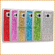 Luxury Bling Glitter skin soft tpu Transparent frame back cover caes for samsung Galaxy S8