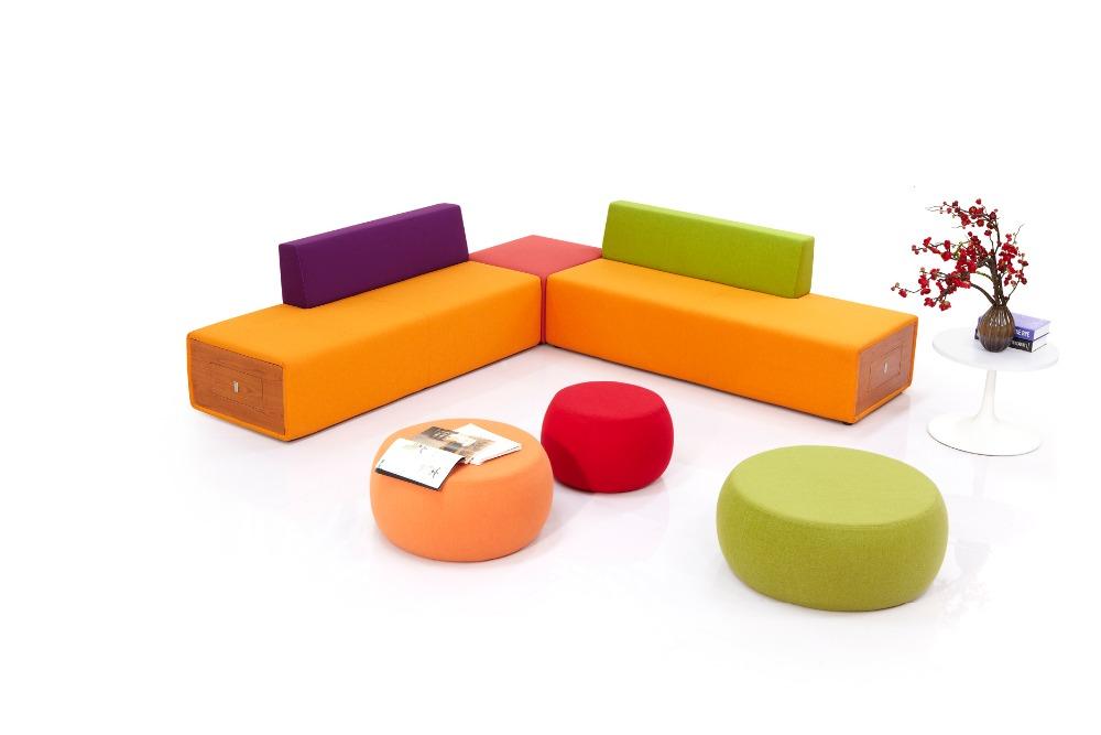 Office Furniture Colorful Modern Lobby Sofa Design Fabric