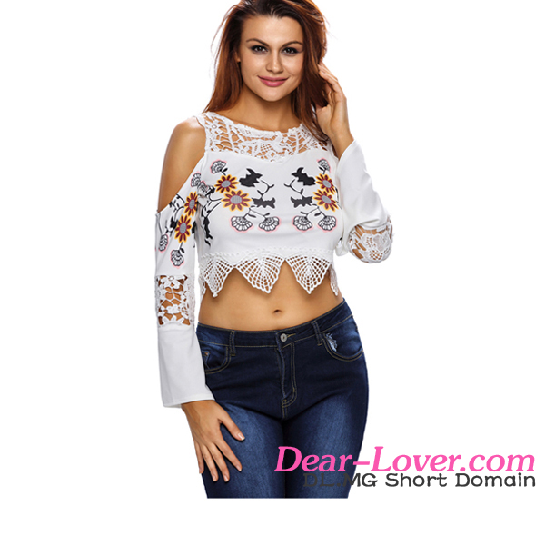 White Crochet Cold Shoulder hot sex photo image girls crop top